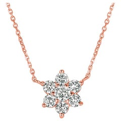 1.00 Carat Natural Diamond Flower Necklace 14 Karat Rose Gold G SI