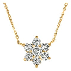 1.00 Carat Natural Diamond Flower Necklace 14 Karat Yellow Gold G SI