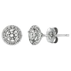 1.00 Carat Natural Diamond Halo Earrings G SI 14 Karat White Gold