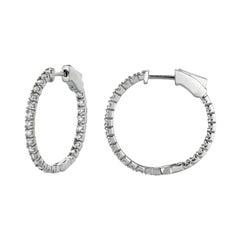 1.00 Carat Natural Diamond Hoop Earrings G-H SI in 14K White Gold 2 Pointers