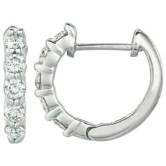 1.00 Carat Natural Diamond Hoop Earrings G SI 14 Karat White Gold