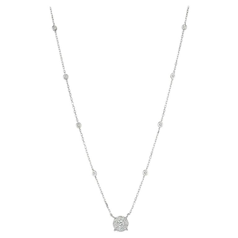 1.00 Carat Natural Diamond Necklace 14 Karat White Gold Chain