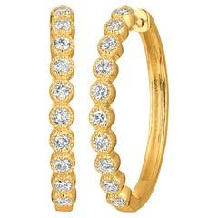 1.00 Carat Natural Diamond Oval Hoop Earrings G SI 14 Karat Yellow Gold
