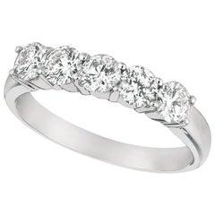1.00 Carat Natural Diamond Ring G SI 14 Karat White Gold 5 Stones