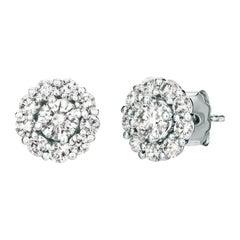 1.00 Carat Natural Diamond Stud and Jacket Earrings G-H SI 14 Karat White Gold