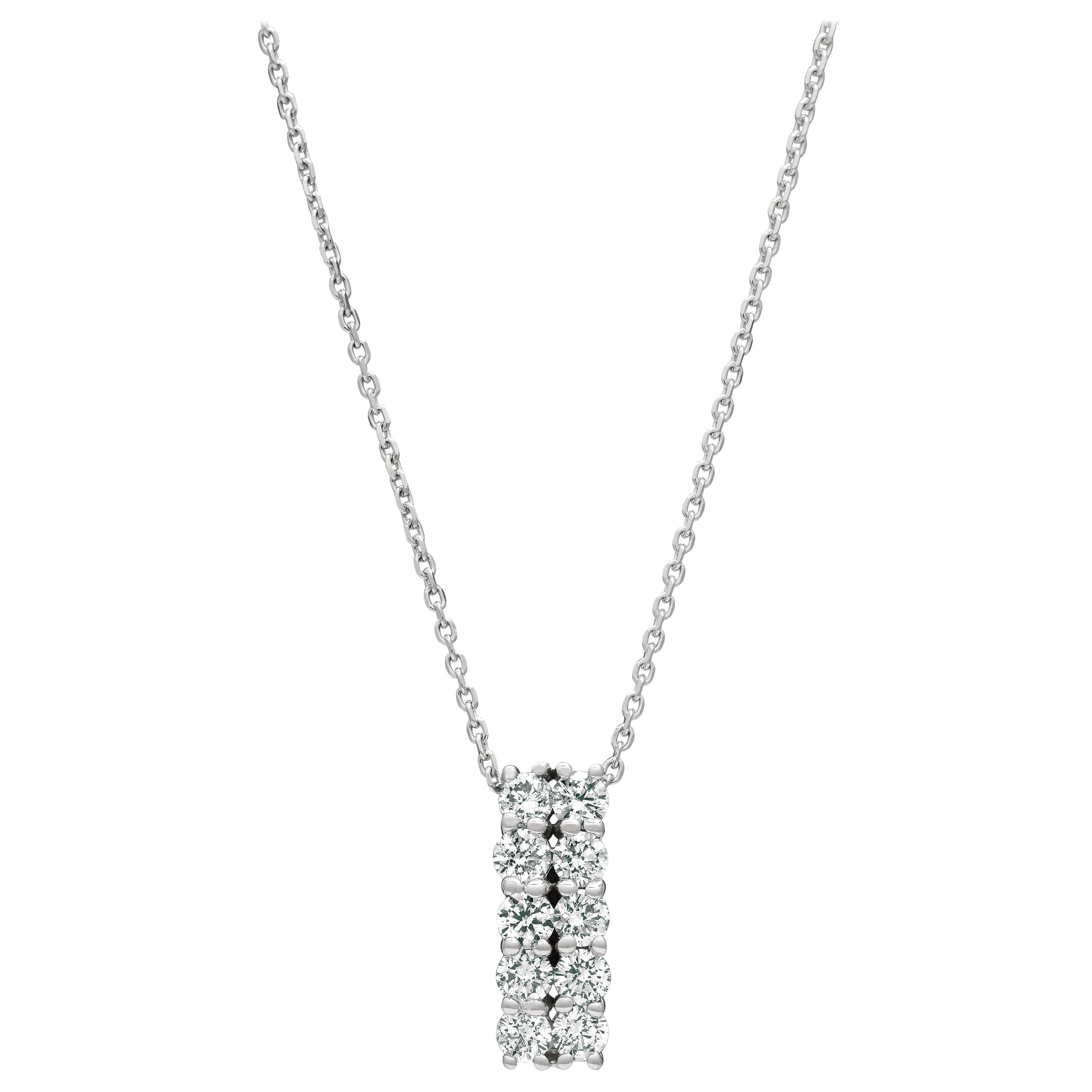 1.00 Carat Natural Diamond Two Rows Necklace 14 Karat White Gold G-H SI