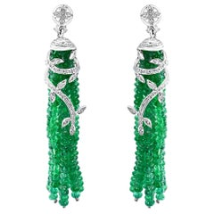 100 Carat Natural Emerald Beads & Diamond Dangle/Drop Earrings 18 Kt White Gold