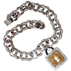 1.00 Carat Natural Fancy Color Diamonds Lock Charm Bracelet 18 Karat