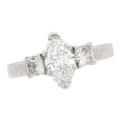 1.00 Carat Natural Marquise Cut Diamond Engagement Ring Platinum