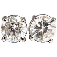 1.00 Carat Natural Round Brilliant Diamond Stud Earrings 14 Karat