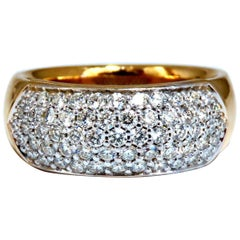 1.00 Carat Natural Round Diamond Band Ring 14 Karat Bead Set Pave Semi Dome