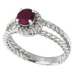 1.00 Carat Natural Ruby and Diamond Ring 14 Karat White Gold