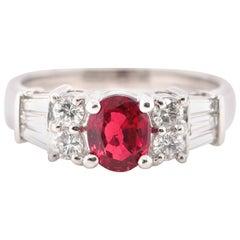 1.00 Carat Natural Ruby and Diamond Ring Set in Platinum