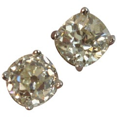 1.00 Carat Old Cut Diamond 18 Carat White Gold Solitaire Stud Earrings