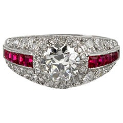 1.00 Carat Old European Cut Diamond and Ruby Ring