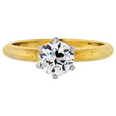 1.00 Carat Old European Cut Diamond K/VS1 EGLUS Solitaire Engagement Ring