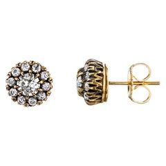 1.00 Carat Old European Cut Diamonds Set in 18k Yellow and White Gold Earrings