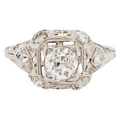 Diamond Platinum Ring, 1 Carat Old European Diamond and Mine Diamond, Art Deco