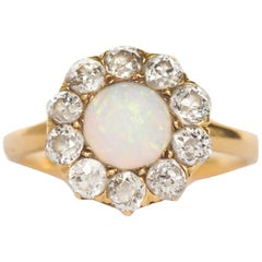 1.00 Carat Opal Yellow Gold Engagement Ring