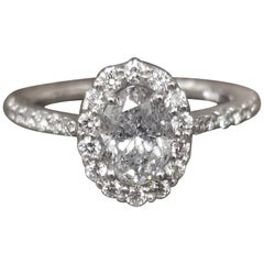 1.00 Carat Oval Diamond Halo Ring