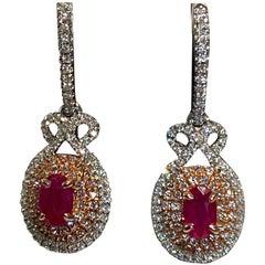 1.00 Carat Oval Ruby Diamond Lever Back Earrings