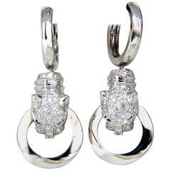 1.00 Carat Panther Hoop Dangle Diamond Earrings 18 Karat