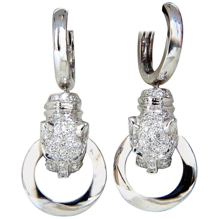 5e507a94b 1.00 Carat Panther Hoop Dangle Diamond Earrings 18 Karat For Sale at ...