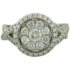 1.00 Carat Pave Diamond and Halo Diamond Engagement Ring in 14 Karat White Gold