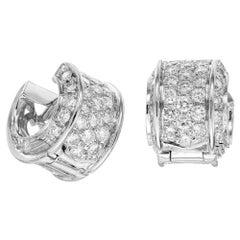 1.00 Carat Pave Diamond White Gold Huggie Earrings