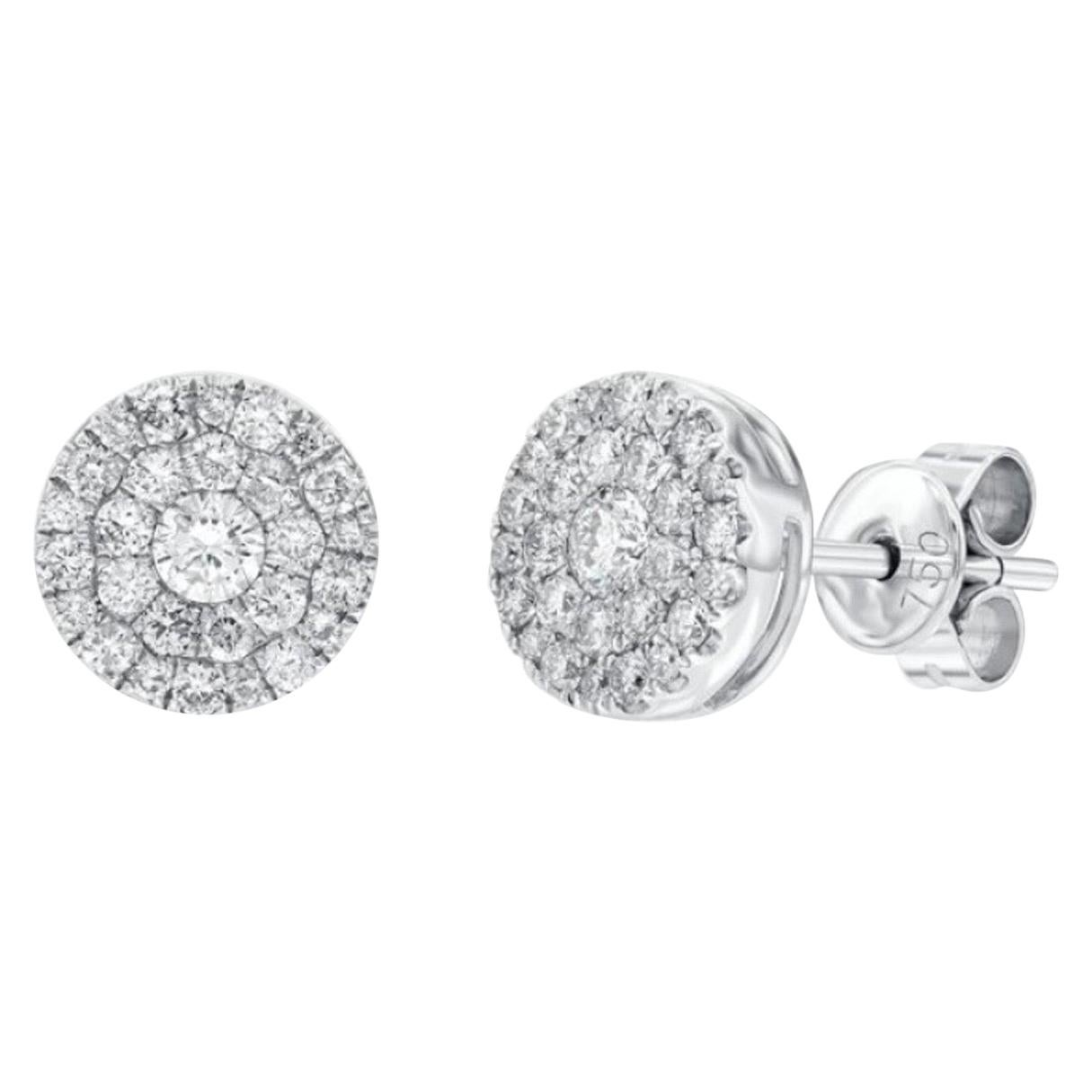 1.00 Carat Pave Set Cluster Round White Diamond 18 Karat Gold Stud Earrings