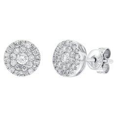 1.00 Carat Pave Set Cluster Round White Diamond 18 Karat Gold Stud Earrings