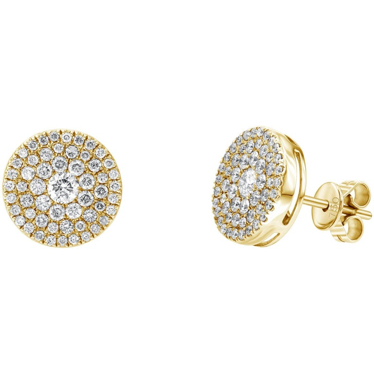 1.00 Carat Pave Set Cluster Round White Diamond 18 KT Yellow Gold Stud Earrings