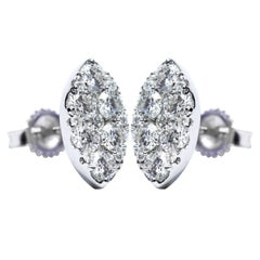1.00 Carat Pave Set Round White Diamond Marquise 18KT Gold Cluster Stud Earrings