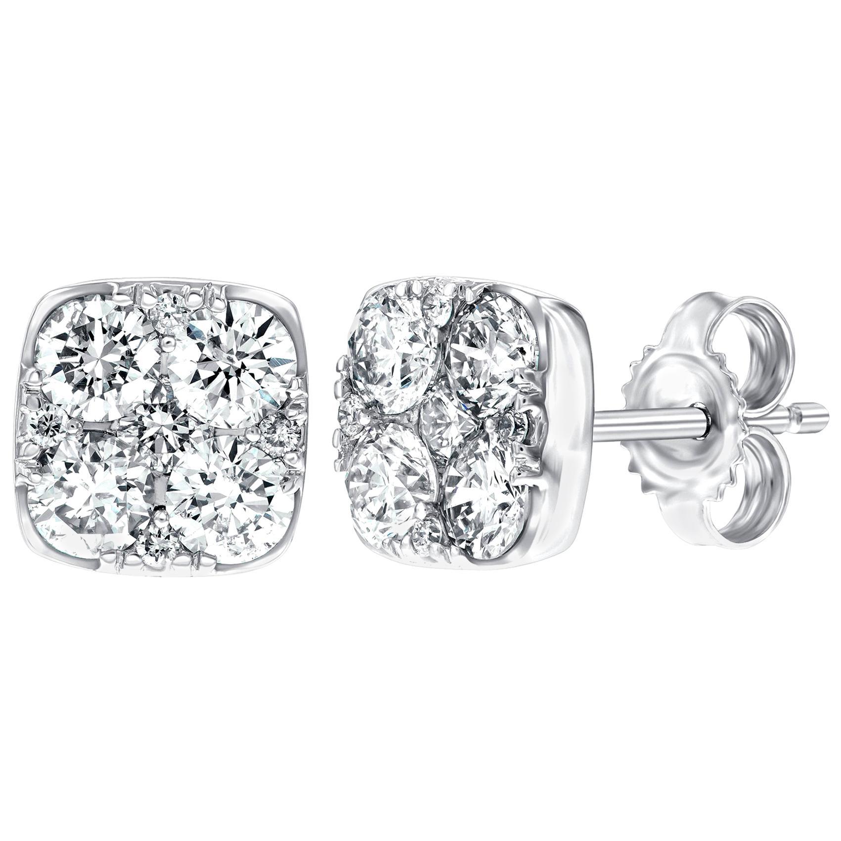 1.00 Carat Pave Set Round White Diamond Square 18 Karat White Gold Stud Earrings