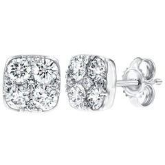 1.00 Carat Pave Set Round White Diamond Square 18 Karat White Gold Stud Earrings