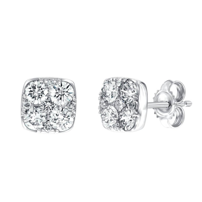 1.00 Carat Pave Set Round White Diamond Square 18Karat White Gold Stud Earrings