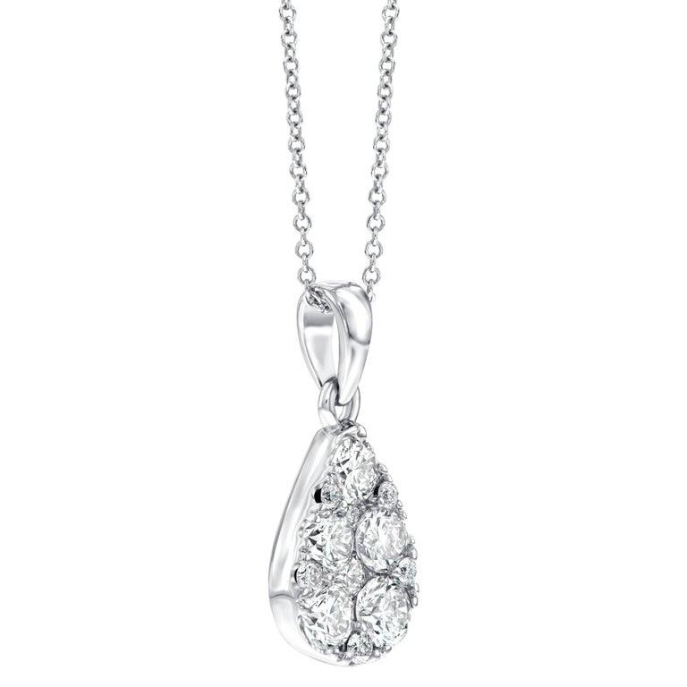1.00 Carat Pear Shaped Round White Diamond 18 Karat White Gold Chain Pendant