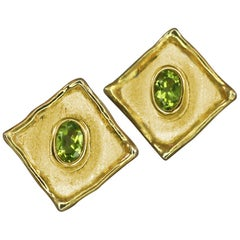 1.00 Carat Peridot Earrings in 18 Karat Gold