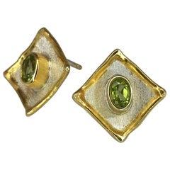 1.00 Carat Peridot Earrings in Fine Silver and 24 Karat Gold