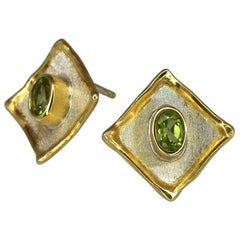 1.00 Carat Peridot Earrings in Fine Silver and 24 Karat Gold