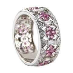 1.00 Carat Pink Sapphire and Diamond Band Ring in White Gold