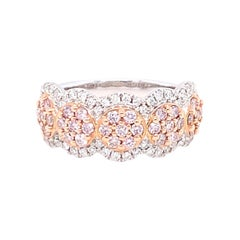1.00 Carat Pink & White Diamond Band Ring in 14K Two Tone Gold