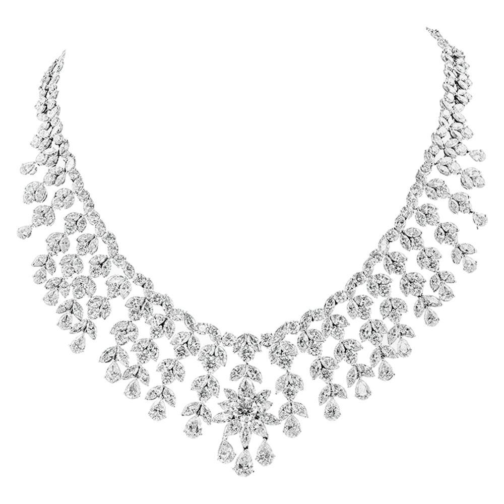 100 Carat Platinum Diamond Drop Necklace