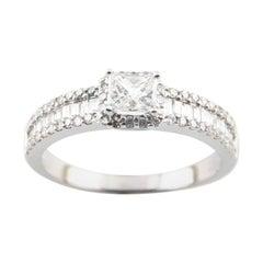 1.00 Carat Princess Cut Diamond 14 Karat White Gold Engagement Ring