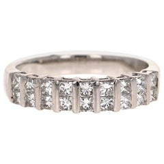 1.00 Carat Princess Cut Diamond 18 Karat White Gold Band