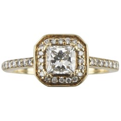 1.00 Carat Princess Cut Diamond Halo 14 Karat Yellow Gold Engagement Ring