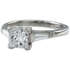 1.00 Carat Princess Cut Diamond Platinum Engagement Ring with EGL Certified