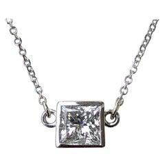 1.00 Carat Princess Cut Diamond Solitaire Pendant Necklace