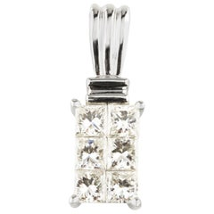 1.00 Carat Princess Cut Invisible Set Diamond Pendant in White Gold
