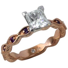 1.00 Carat Princess Diamond and Amethyst Ring Hand Engraving-Ben Dannie